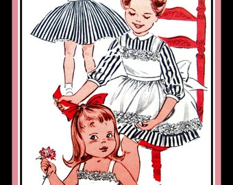 Vintage 1950s-DARLING DRESS-PINAFORE-Sewing Pattern-Full Twirl Skirt-Sweet Novelty Trimmed Pinafore-Contrast Collar-Back Bow Tie-Size 4-Rare