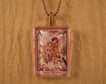 Apple Blossom Flower Fairy Letter A Small Flat Rectangle Glass Pendant with Chain Necklace Cicely Mary Barker Alphabet Jewelry