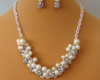 ON SALE Brides GIFT Ivory Pearl & Silver RHINEstone WEDDing Bridal Maid Of Honor BRIDESmaid Necklace Set By DYEnamite