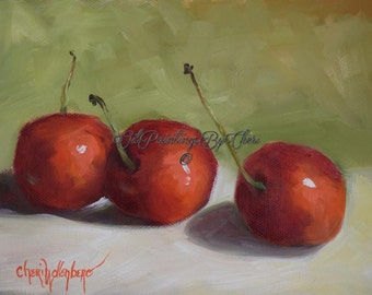 Still Life Oil Painting,Three Bright Red Cherries, Small 6x8 Original Oil Painting On Stretched, Cheri Wollenberg