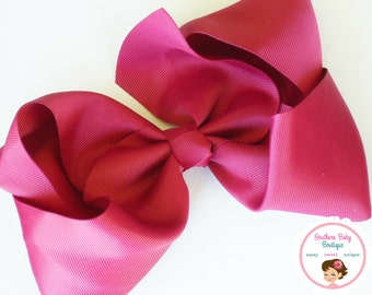 New Item---School Cheer Bow XX-Large 7 Inch Hair Bow---Raspberry---Ready to Ship