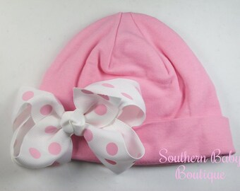 NEW----Boutique Hospital Pictures Knit Beanie Cap with Hairbow Clip Set----Pink and Pink w/White Dot----Fits 0-6 Months