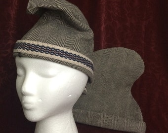 Phrygian Cap in linen tweed, gray, cream heavy weave Historical Hat, Phrygian hat SCA Garb, Mens medium /Large Medieval costume, French Rev