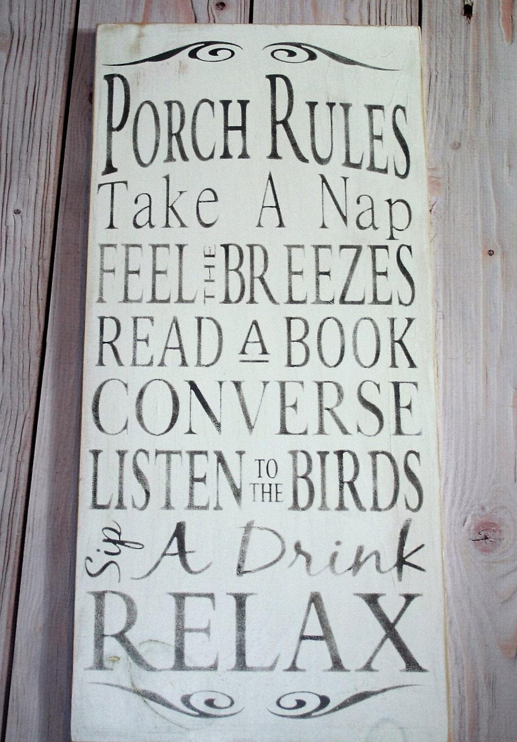 Porch rules sign - Porch rules -Porch signs - Porch decor - Wood ...