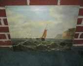Antique 19c Primitive Nautical Seascape Painting as found