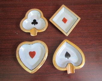 Vintage 1950s Set of 4 Porcelain Japanese Lusterware Card Suit Poker Ashtrays Gambling Collectibles