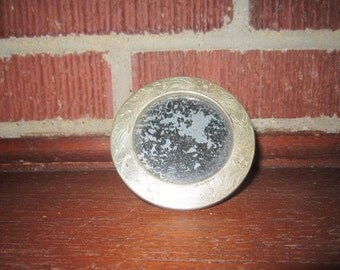 Antique Edwardian Standing Little Round Silver Metal Picture Frame