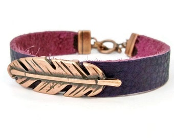 Copper Feather Bracelet, Purple Leather Bracelet, Copper and Leather, Purple and Copper Leather, Gift for Her, Copper Bracelet