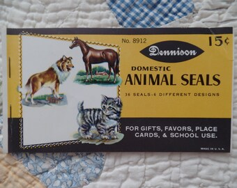 Vintage Dennison Animal Seals Stickers    Free Shipping