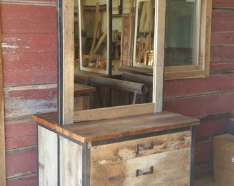 YOUR Custom Industrial and Rustic Barn Wood 6 Drawer Double sided Salon Station with Free Shipping-IRBWDD1400F