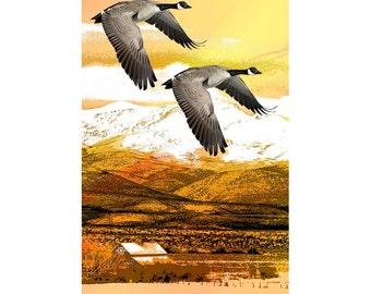 Geese Flying South, Autumn Fall Art,  Orange Yellow, Bird Goose, Southwestern Wildlife, Home Decor, Wall Hanging, Giclee Print  8 x 10