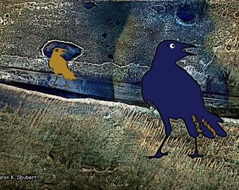 Blue Crow Art, Citra Solv Design, Textured Mixed Media, Wildlife Wall Hanging, Raven Blackbird, Bird Home Decor, Giclee Print, 6 x 10