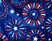 Fireworks hanging towel,   double towel, patriotic crochet top towel, kitchen dish towel