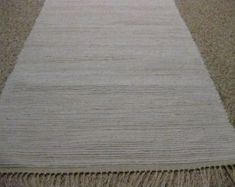 Handwoven Off White Rag Rug 25 x 63 (M)
