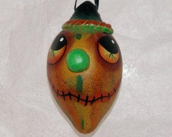 Halloween Folk Art Gourd Ornament Haunted Halloween , Egg  Gourd Ornament (224)
