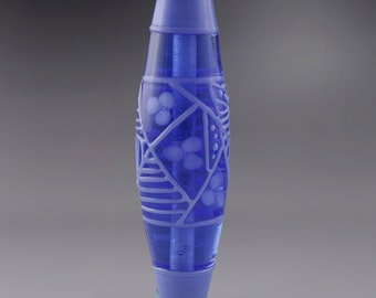 Periwinkle Blue Lines Dots Art Deco Flowers Floral Bicone Focal Artisan Lampwork Bead Handmade Glass Heather Behrendt  SRA 3555