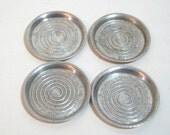 Vintage Aluminum Coasters Set, Everlast Forged Aluminum, Modern Swirl