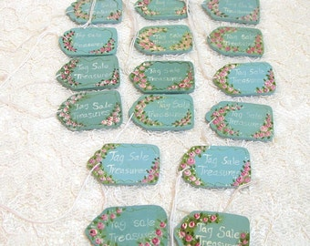 "Hand Painted Wood Tags ""Tag Sale Treasures"", Set Of Sixteen"