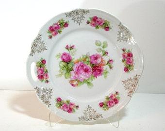 Vintage Pink Roses Romantic Home Decorative Plate