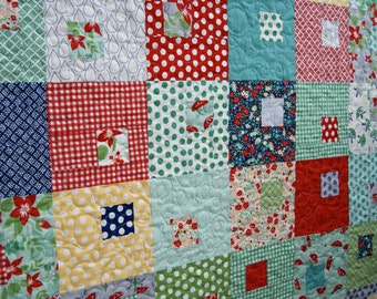 Quilt April Showers Bonnie Camille Nursery Bedding Scrappy Patchwork Children Baby Toddler Red Blue Aqua Christmas Mothers Day Squares Happy