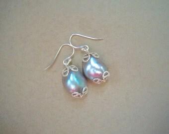 Baroque Flameball Grey Pearl Earrings - 5