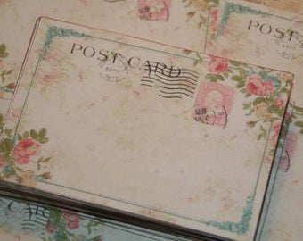 Wedding Guestbook Alternative,  Vintage Post Cards,   Wedding Wish Cards, Destination Wedding, Pink Roses, 100