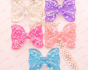 Huge Starry Bow Flat Back Resin Cabochon - 5pc   Resin Cabochon Decoden Supplies Jewelry Making Flatback Resin Cabochon