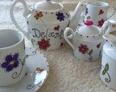 Hand painted porcelain personalized custom children's tea set