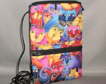 iPhone6 Purse - Passport Purse - Sling Bag - Hipster - Wallet on a String - Laurel Burch - Cats