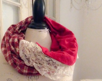barn red and plaid flannel and lace snood cowl