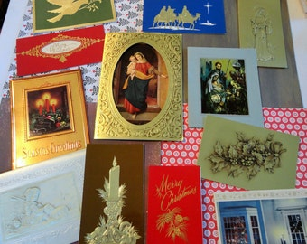 Classic Modern Christmas and Striking Imagery in Modern Style in Vintage Christmas Card Lot No 805 Lot of 12