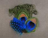 Cobalt blue feather hair clip royal blue feather barrettes polka dot blue prom hair accessories peacock feathers for hair trendy hair clip