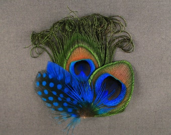 Cobalt blue feather hair clip royal blue feather barrettes polka dot blue prom hair accessories peacock feathers for hair trendy hair clip
