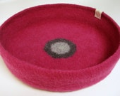Modern Cat Bed Knit Crochet Wool Handmade Felted Pet Bed in Hot Pink with Gray Circles