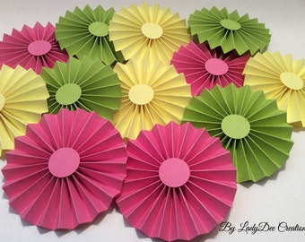 "12 - 4"" Pink Yellow & Lime Green Paper Rosettes / Paper Fans - Wedding, Bride, Baby Shower, Nursery, Desert Table, Party Decoration"