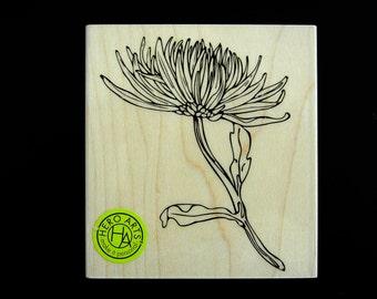 SALE Mum Stem 2016 Hero Arts Wood Mount Rubber Stamp
