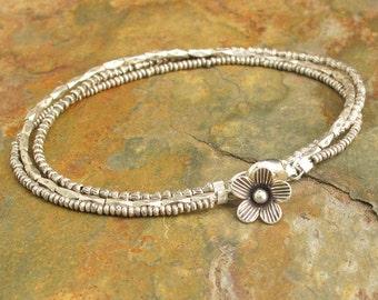 Sterling Thai Hill Tribe Silver Bracelet - Tiny Blossom Charm