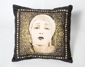 Statement Cushion or Throw Pillow Gold Brown Art Deco