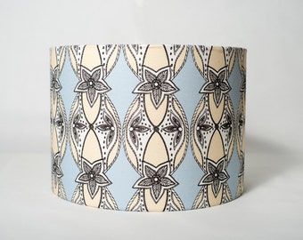 Large Cream and Blue 'Dynasty' Lampshade 40cm