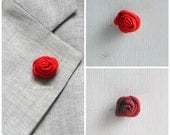 Flower lapel pin - Men's lapel flower - Men buttonhole - Men boutonniere - Red hues - Wine red, red. Made in Italy
