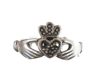 Claddagh Ring, Sterling Silver, Marcasite Stone, Vintage Ring, Irish Jewelry, Celtic Ring,  Size 4 3/4, Irish Wedding, Heart, Crown, Hands