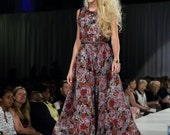 Anna Floral Gown  Long Dress    Silk  size small Medium   Black