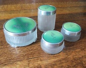 Art Deco 4 Vanity Frosted Glass Dresser Jars with Green and Silver Floral Designs Powder Jar