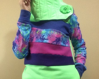 Hoodie Sweatshirt Sweater Handmade Recycled Upcycled One of a Kind RADIOACTIVE Ladies SMALL - Neon 80s Retro Color Block Pockets