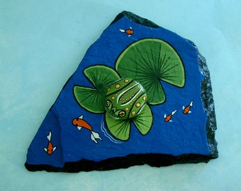 Gift for gardener naturalist-Koi pond with frog-garden ornament-ooak yard art-planter containers-painted rocks-water feature-ready to ship