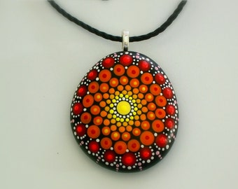 Ready to ship-Mandala stones-painted rocks-pendant necklace-unique 3D dot art-yoga meditation-gift ideas-coworker best friend-gift under 50