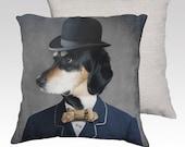 Dog Pillow Dog Pillowcase Decorative Dog Pillow Case Pillow Cover Throw Pillows Pet Portrait 18x18 or 22x22 Pillow Case - Monsieur Ben