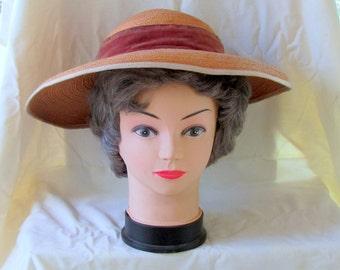 Vintage Southern Belle Straw Broad Brim Hat, spring special!