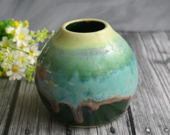Handcrafted Vase in Dripping Shades Green Glazes Handcrafted Flower Vase Ready to Ship Made in USA