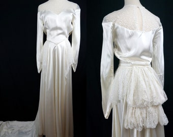 1940s Ivory Liquid Satin Wedding Gown Long Sleeve Lace Bustle Train Flounce Vintage Bridal Dress